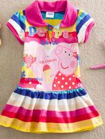 Summer New Fashion Cute Girls Kids Children dress Peppa Pig Dress Colorful Striped Tops dresses