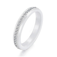 One Row CZ Crystal Pave Setting Ceramic Wedding Rings For Women