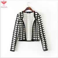 Fashion Black And White Plaid Women Short Coats Jackets Long Sleeve Plus Size Zipper Womens Coat Casual Womens Jacket  C13081W