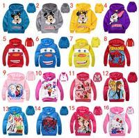 2014 Children cartoon cars Minnie mouse hello kitty boys girls long-sleeved hoodies kids jackets coat sweatshirt clothes