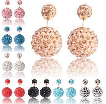 Ne431 11 стили 2015 двойной жемчужные серьги / крем конфеты пирсинг заявление свадьба серьги / 2 размеры brincos / оптовая продажа /