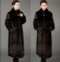 2015 Luxury faux fur mink cashmere women's coat new fashion women coat gorgeous upscale fur coat with natural fur coat long E046