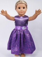 """Free shipping!!! hot 2014 new style purple Popular 18"""" American girl doll dress clothes"""