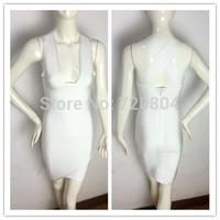 Free shipping 2015 New arrival Women's white deep V neck Bandage Dress HL Evening Dresses HL dropship