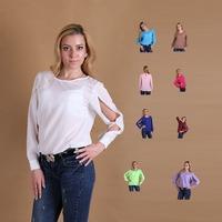 10 colors women's long sleeve cloth o-neck collar casual chiffon blouse  fashion women clothing the size S/M/L Free shipping