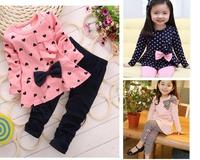Spring baby girl clothing sets 2015 new Dot t shirt pants 2pcs cotton children suit bow casual kids clothes roupas infantil