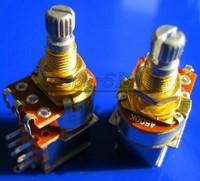 Free Shipping 20PCS Gold Plated Split Shaft Push Pull Audio Taper A500K Tone Switch Pot Potentiometer Coarse Knurling Shaft