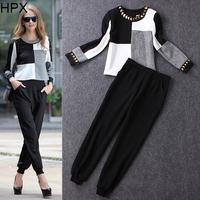 Women Celebrity Fashion Sequin Top + Long Pants Two pieces Clothing Set 2014 Autumn Winter New 2pcs Sets European Style S1142