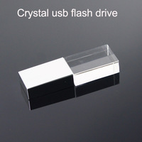Hot ! Crystal Transparent Led light Metal Usb flash drive Pen drive Usb memory stick disk Custom logo 1GB 2GB 4GB 8GB 16GB 32GB