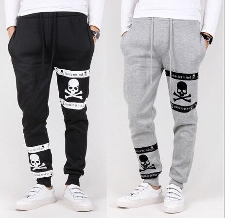 New 2015 Fashion Brand Men's Casual Baggy Printed Skull Joggers Harem Trousers Pants Mens Sport Drop Crotch Hip Hop Sweatpants(China (Mainland))