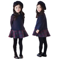 Brand baby girls dress autumn spring Girl's Fashion Apparel 2~11Age Kids dress party princess girls' dresses plaid
