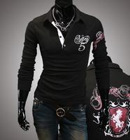 Free Shipping High Quality Fashion Horse Letter Printed Turn-down Collar Long Sleeve Man Cotton T-shirt M-XXL