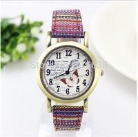 10pcs lot NEW Vintage Watch Women Paris Casual Analog Quartz wristwatch BUTTERFLY Fabric Textile Fashion Watch Woman wholesale