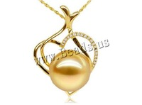 Free shipping!!!Golden South Sea Pearl Pendant,Wholesale Jewelry, with  & 18K Gold, Heart, natural, gold, 11-12mm