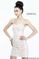 Free Shipping Fashion Sheath Strapless Appliques Homecoming Dresses Short Beaded Crystal/Cocktail Dress//Graduation Dress