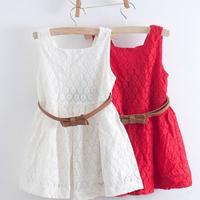 2014 summer new girls dress Kids Belt Lace Vest Dress Princess Girls dress red~white baby dress free shipping