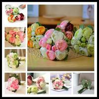 8sets romantic raw silk wedding 10pcs tea rose flower bride bouquet bride holding flower Wedding favors hand flower ball