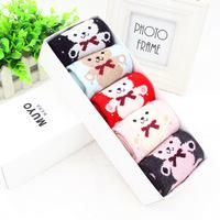 2014 New Winter wool socks with box package casual gift socks cute cartoon bear mickey design warm socks women 10pcs=5pairs/box