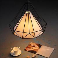 European Designe Diamond Shape Cage Parlor Cord Pendant Iron LED Lamp Retro Lighting Bird