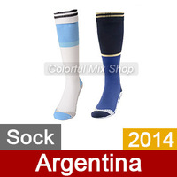 Free Shipping Argentina Soccer Socks World Cup 2014 Top Thai Quality Argentina jersey Socks Home Away football Socks