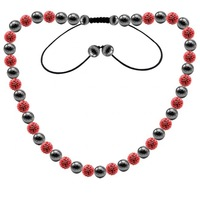 tpn049 Tresor Paris Allier Red Crystal & Magnetite Necklace,  shamballa inspired necklace, Top grade quality