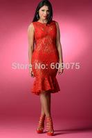 2014 brand new fashion women red bodycon dresses casual o-neck sleeveless dress sexy mesh   slim vestidos