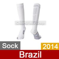 Free Shipping Brazil Soccer Socks World Cup 2014 Top Thai Quality Brazil Jersey Socks Home Away Brasil football Socks