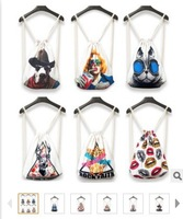 5 pieces 3D HARAJUKU animal print vintage casual sport gym shopping double-shoulder drawstring backpack beach bag 44 *37 cm