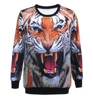 Autumn hot sale new fashion 3D tiger head printing cute hoodies women loose long sleeve female sweatshirt womens Dropship XY015