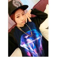 New 2015 Women 3D Diamond Stars Universe Print Punk Sweatshirt Pullover Casual Shirt Sportswear TNH082