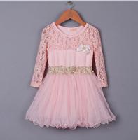 Baby Girl New Spring Lace Ganze Long Sleeve Ruffles Tutu Dress, Princess Boutique Sweet Dresses, 5 pcs/lot, Wholesale