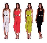 2015 Women's sexy beach dress irregular Bohemian condole belt dresses 4color  plus size 8001