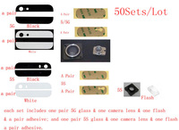 (5G5S40950AM)(50Sets/Lot by AM) 100% Top Quality for iPhone 5G 5S Top Bottom Back Cover Glass+Camera Lens+Flash+Adhesive Sticker