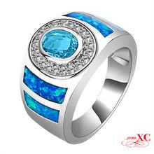 Sale Fine Jewelry Wedding Finger Rings Lady's Men's Fashion Blue Sapphire AAA Zircon opal anel 925 Sliver Filled Ring R6B0957