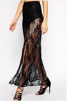 Free Shipping 2015 New Women Casual Slim Fish Tail High Low Ruffled Hemline Midi Skirt NA71074 Free Size Sexy Bodycon Skirts