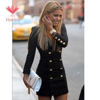 Fashion Slim Women Black Dresses Coat Long Sleeve V-neck Button Ladies Dresses Mini Casual Womens Knitting Jackets Dress D13101W