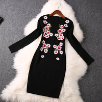 2014 new  3D Peach Blossom Knit Dress winter dress women dress flower print dress