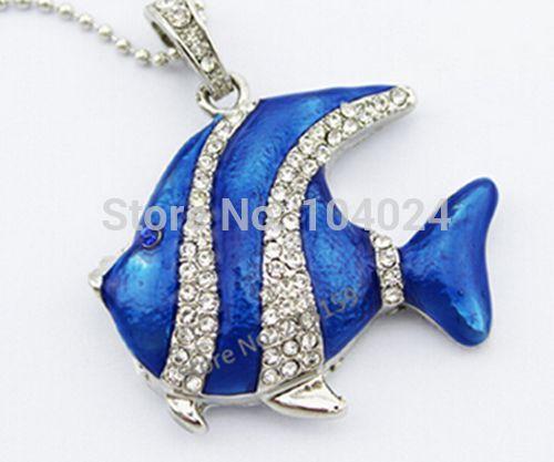 Jewelry crystal THUMB pen drive blue Fish necklace USB flash drive 2.0 Pen memory U disk 64GB(China (Mainland))