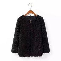 2015 fashion popular fashion woman clothes outwear coat,long sleeve O-neck zipper faux fur wide-waisted women warm abrigos mujer