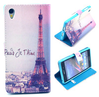Gray Eiffel Tower B09HT Flag Leather Wallet Stand Flip Pouch Bag Cover Case For Sony Xperia Z3 D6653 L55T