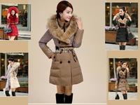 women's luxury winter thick duck down leopard  / black / red long coat parkas warm raccoon fur hooded collar jacket parkas 9875