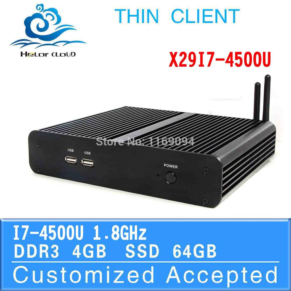 Fanless Design X29-I7 4500U 4G RAM 64G SSD thin client computer case mini pc server support Windows 7,(China (Mainland))