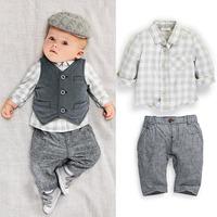 Spring baby boys clothing set 2015 new year Plaid Shirt Vest pants 3pcs cotton newborn bebe sport suit all for children roupas