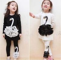 Spring baby girl clothing sets 2015 new cotton lace Swan T-shirt pants 2pcs children suit casual kids clothes roupas meninas