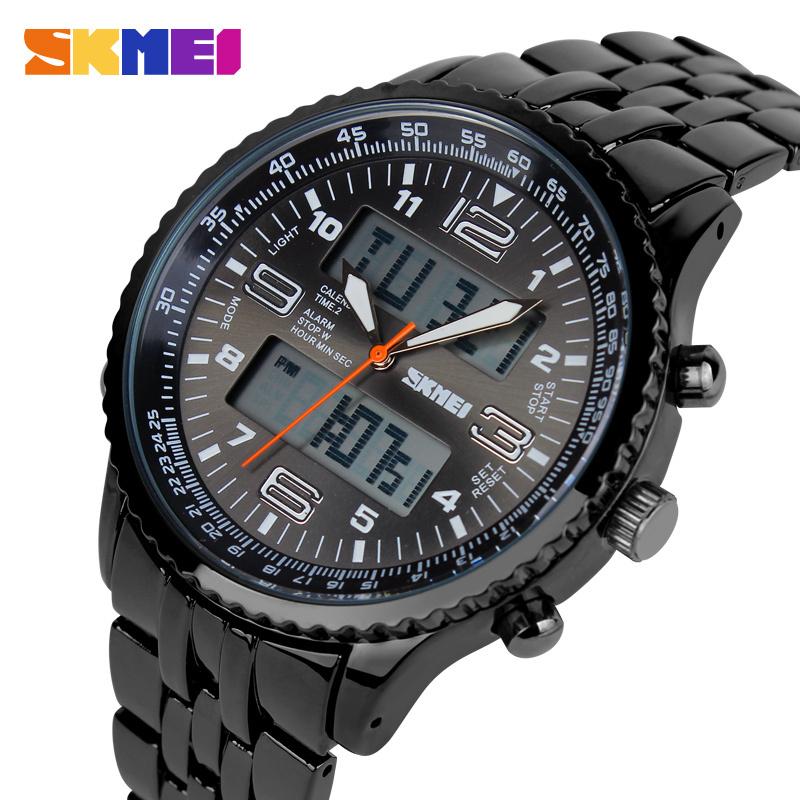 SKMEI Fashion Black Stainless Full Steel Strap Relogio Male Clock Men Wristwatch Quartz Sport Watch Waterproof Montre Homme(China (Mainland))