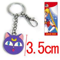 30pcs/lot Anime Cartton Sailor Moon Cat Luna Key Chain Keychains Metal Figure Toy Key Ring Pendants