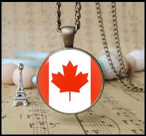 vintage Canada national flag pendant necklace retro Flag of Canada jewelry fashion Canada flag necklace sports gifts 24pcs 1487(China (Mainland))