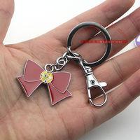 30pcs/lot Anime Cartton Sailor Moon bowknot Key chain Keychains Metal Figure Toy Key Ring Pendants