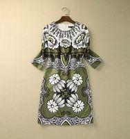 S-XXL High quality 2015 runway fashion vintage Brand 3/4 sleeve O neck print grenn plus size one piece dress 759150