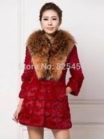 Hot-selling 2014 raccoon sweater collar fur rabbit hair fur coat Can be customized plus-size Free shipping